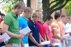 """Incoming freshmen recite the freshman pledge, which states, """"We, the students of Hillsdale College, commit ourselves to diligent study and patient reflection. Having come to learn, we are proud to do so with integrity and will conduct ourselves with exemplary honor. As sacrifices past and present make possible our education, we too become stewards of this College for the generations yet to come. We pledge ourselves to the pursuit of truth, the love of the good, and the cultivation of beauty, for the sake of our minds and hearts and for an ennobled society. By so doing, we embrace the high calling of liberal education."""""""